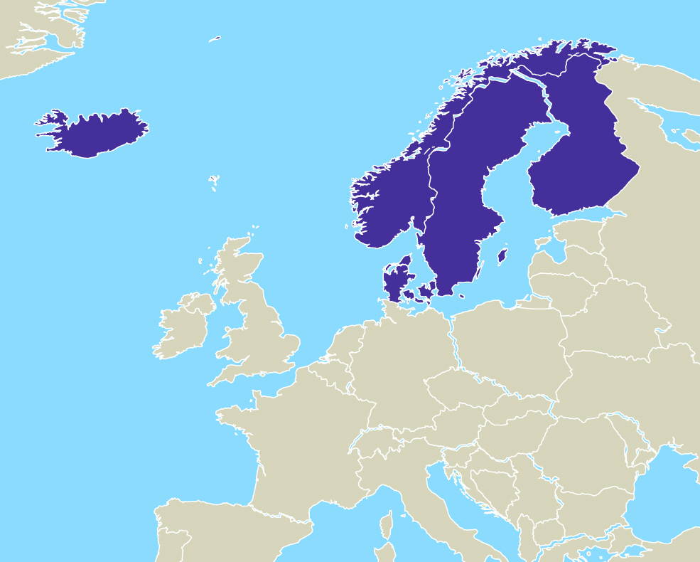 Illustration Europe - Nordic region highlighted